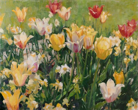 Tulips mingling with Daffodils by Patrick Saunders is one of the selected art works in the Oil/Acrylic division for the 2020 Bosque Arts Center Art Classic.