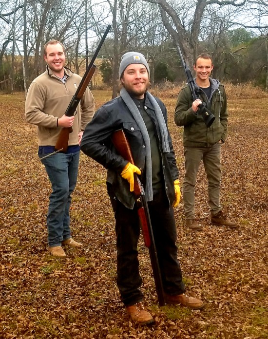 Voss boys Jake, Zach and Derek get some clay pigeon shooting practice in before dove hunting in 2019.