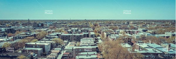 Aerial drone view above Albany Park neighborhood