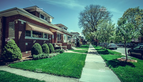 Albany Park Chicago Row Of Bungalow Homes Side Street