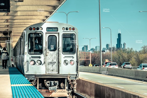 Irving Park Chicago CTA Blue Line With Sears Tower In The Background