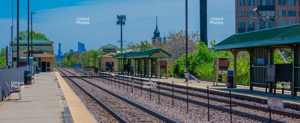Jefferson Park Metra Station Platform With Skyline