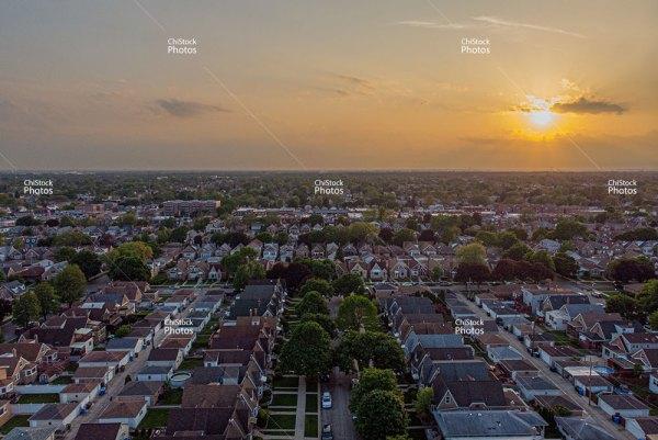 Sunset Over Streets Of Schorsch Village Dunning Chicago