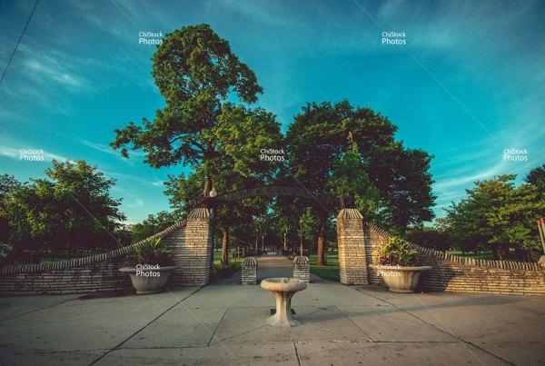 Portage Park Entrance Weekday Afternoon Moody
