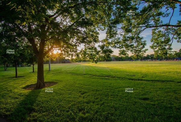 Portage Park Entrance Weekday Sunset Field