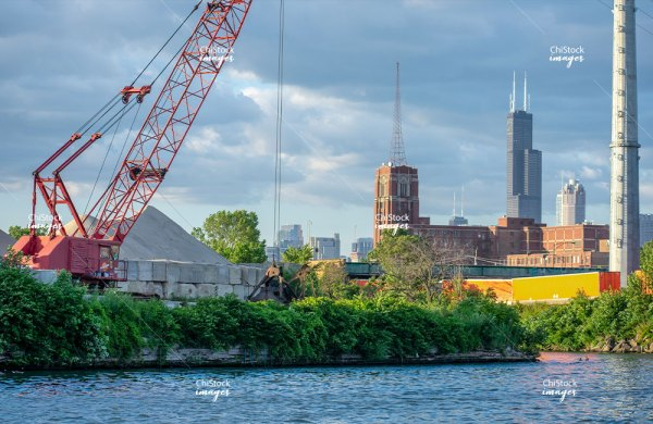 Construction Over The Chicago River With Sears Tower in Background