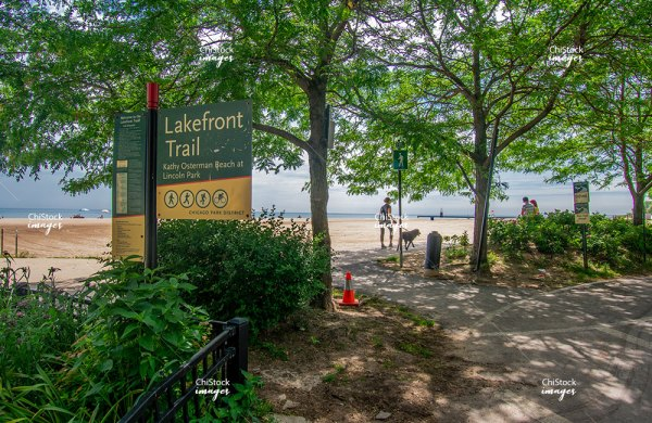 Lakefront Train Kathy Osterman Beach at Lincoln Park Edgewater Chicago