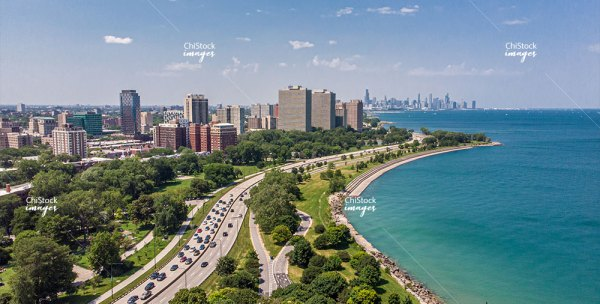 Lake Shore Drive Promontory Point Peninsula Hyde Park With Chicago Skyline In The Background
