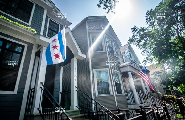 Chicago Flag Along Side The America Flag in North Center Neighborhood Chicago