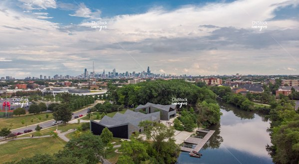 Boathouse at Clark Park North Branch Chicago River North Center Aerial