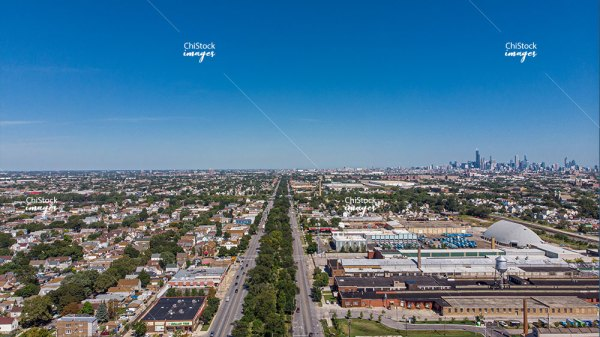 Aerial View of South Western Ave Gage Park Chicago Skyline