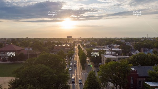 Afternoon eerial drone view above Irving Park Road