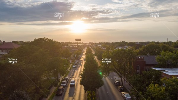 Afternoon aerial drone view above Irving Park Road