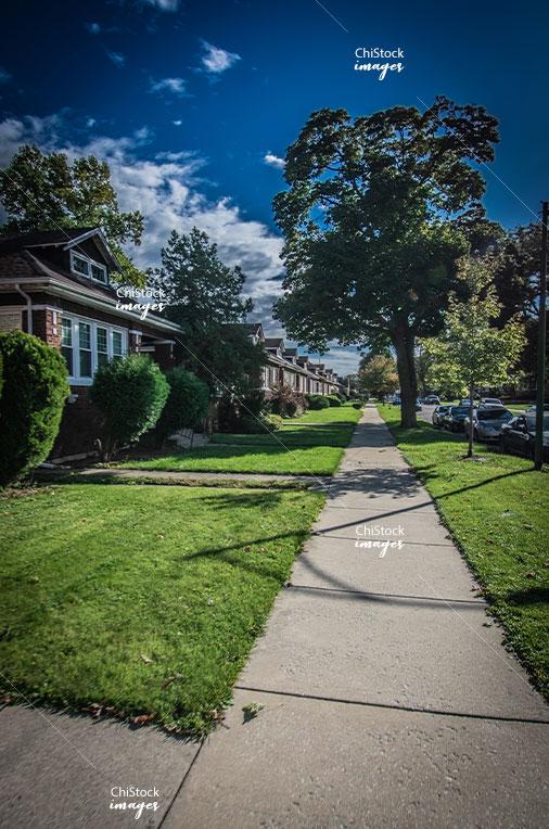 Bungalow homes on a side street in Auburn Gresham neighborhood of Chicago