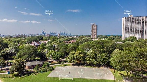 Aerial drone view of Kenwood Park neighborhood Chicago