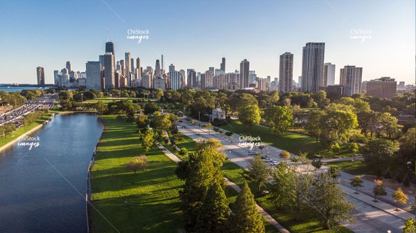Aerial drone view of Lincoln Park South Lagoon and and Lake Shore Drive