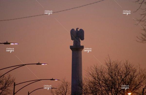 Illinois Centennial Monument at Dusk Logan Square Chicago