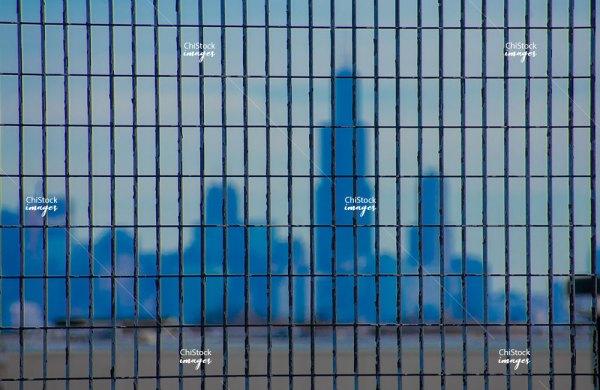 Downtown Skyline Above Metra Tracks in Belmont Cragin Chicago