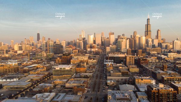 Aerial View of West Loop Near West Side Chicago