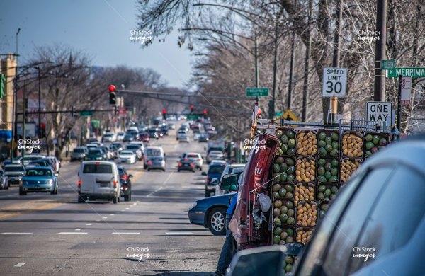 Street Vendors on Fullerton Avenue in Belmont Cragin Chicago