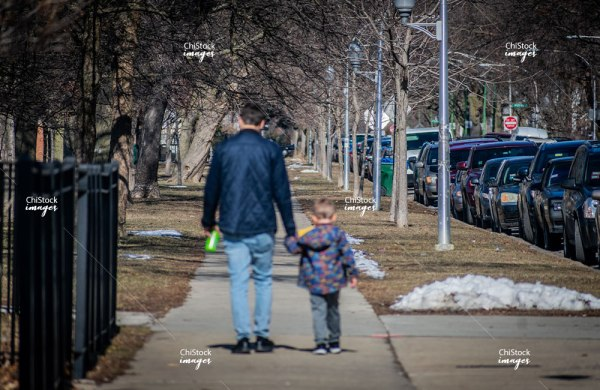 Father and Son Walking Near Riis Park Field House Belmont Cragin Chicago