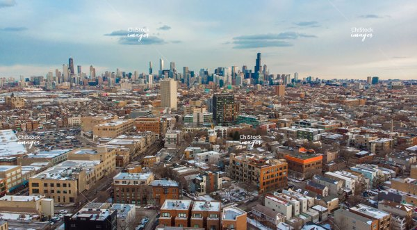 Aerial View of West Town and the Chicago Skyline