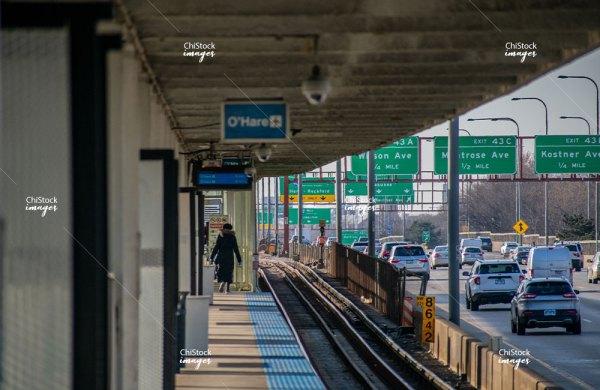 CTA Blue Line Platform Kennedy Expressway in Irving Park Chicago