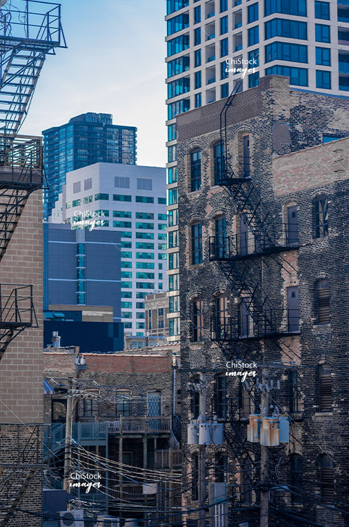 Alley with Old and New Lofts, Mid-Rise and High-Rise Office Buildings in Near North Side Chicago