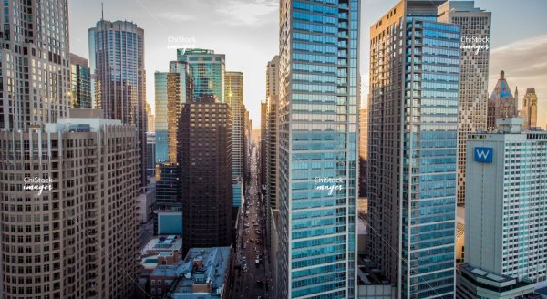 Aerial View of Streeterville Skyline at Golden Hour Near North Side Chicago