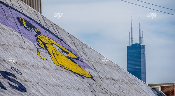 Old Morton Salt Demolition in West Town With Chicago Skyline in the Background