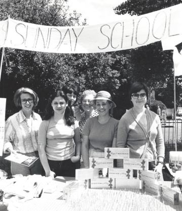 50 years of Green Days 1979 sunday school stall with sign Sue Porter