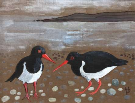 2017 Artists at Home Henrietta Parsons - Oyster Catchers at Morston