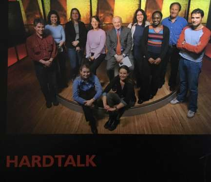 Bridget Osborne HARDtalk team posing for 50 years of TV book 2