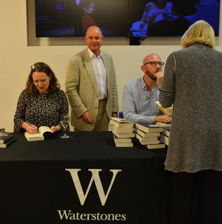 Torin Douglas MBE with authors Paula Hawkins & S.J. Watson at the 2016 Chiswick Book Festival