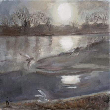 2015 Artists at Home Anthea-Craigmyle 2, Sunset over Chiswick Eyot