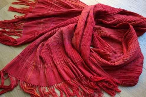 2016 Artists at Home Bobbie Kociejowski, Large red silk & wool scarf
