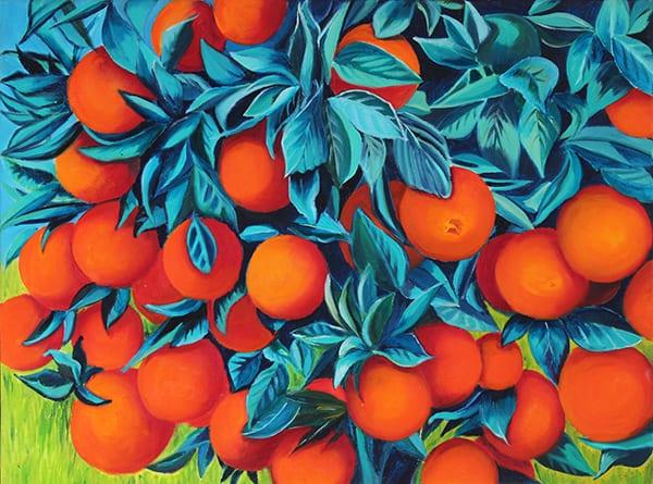 Oranges Oil on Canvas. Framed size (W X H): 84.75cm x 69.5cm by Debbie Pearce