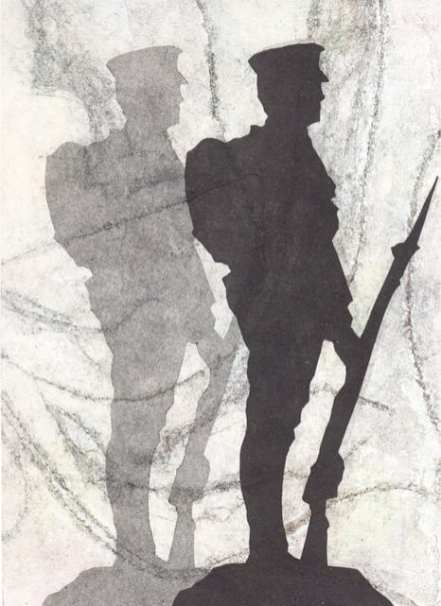 Shadow Soldier I, collagraph with relief print (20 x 15 cms) variable edition of 3 Part of a series of prints made to commemorate the First Wold War by Sally Grumbridge