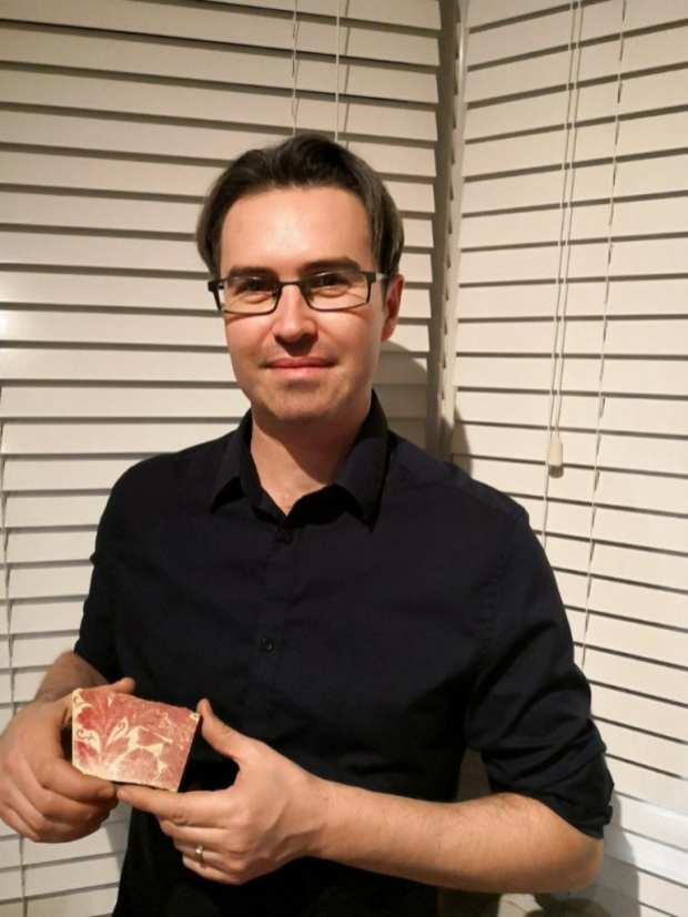Jason with a piece of pottery he found near William Morris's home in Hammersmith (1) (1)
