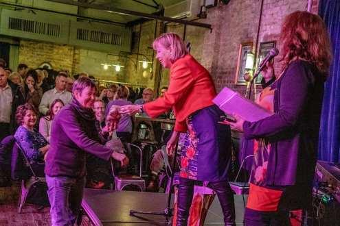 Ruth Cadbury MP awarding Chiswick House Head gardener Geraldine King an 'Order of the Chiswick Empire'