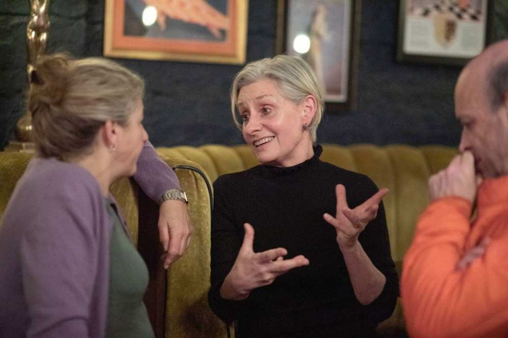 Sally Malin, Labour party activist with Karen Liebreich MBE (left) & Professor Jeremy Levy (right)