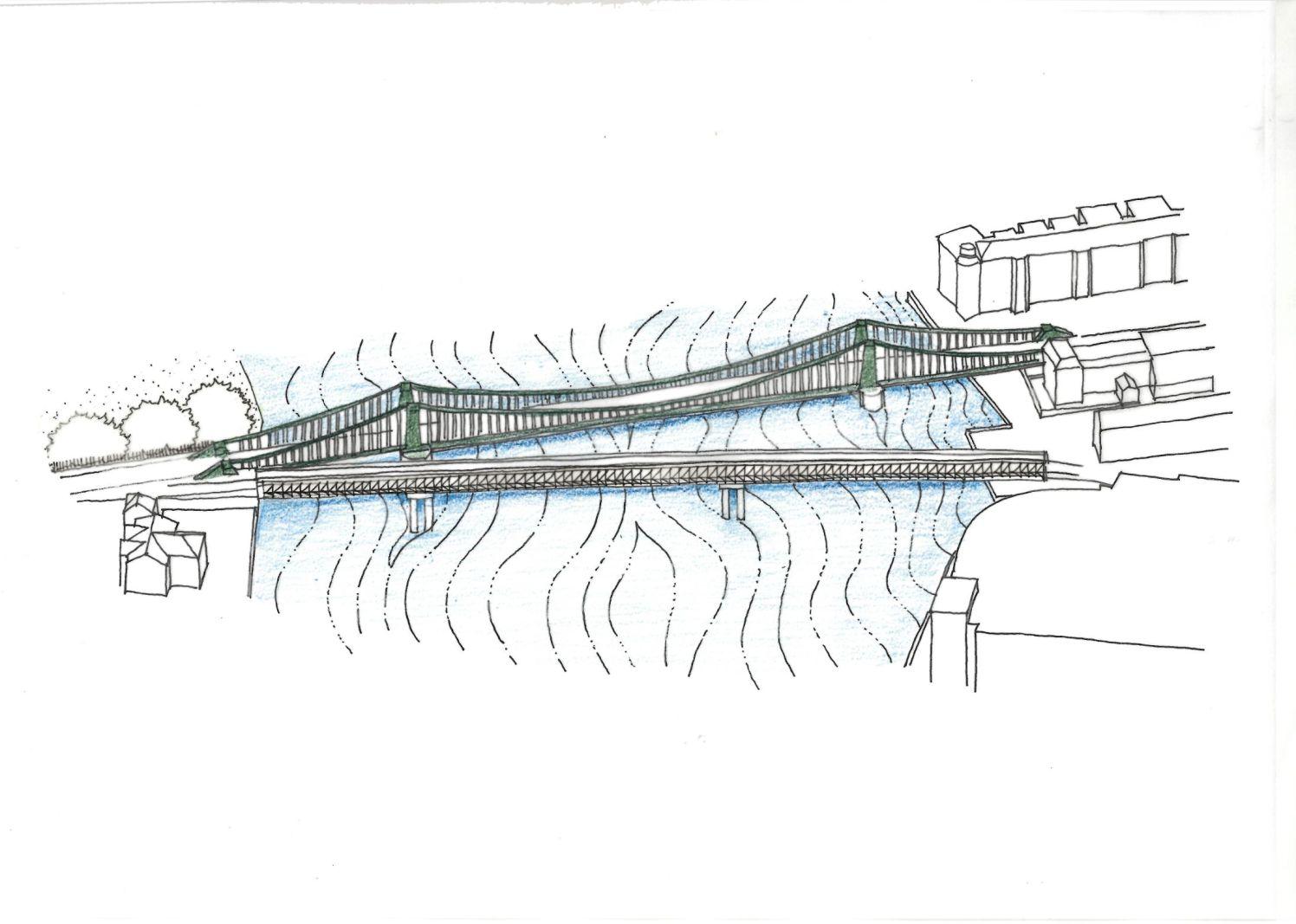 TfL Image - Hammersmith Bridge & Temporary Bridge sketch proposal (1)_web