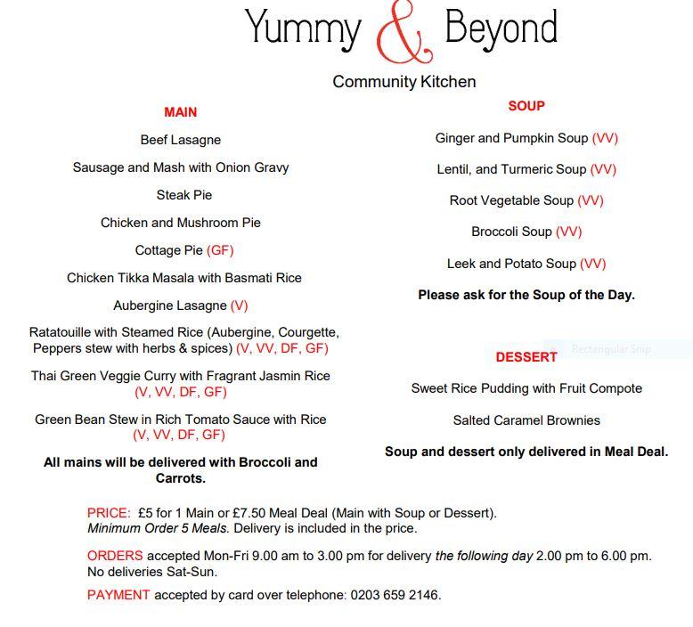 Yummy & Beyond menu