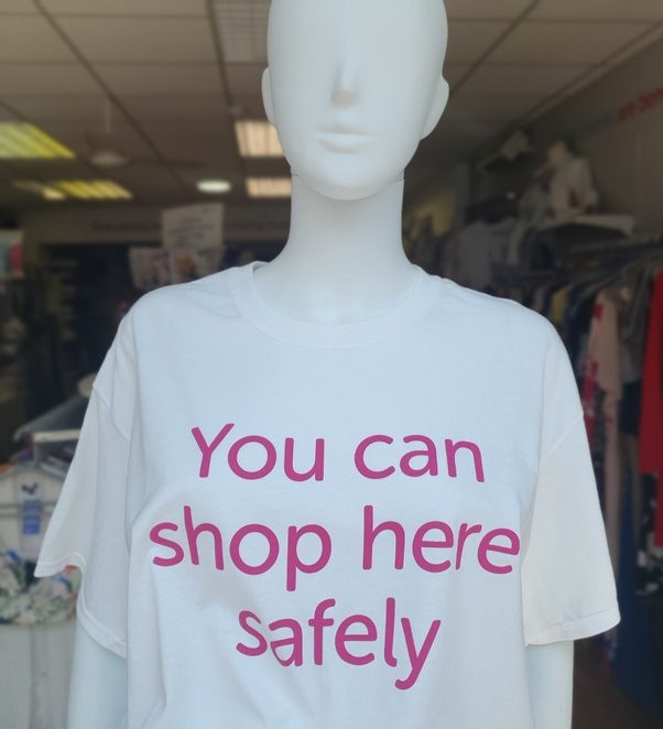Cancer Research UK Shop Here Safely Mannequin