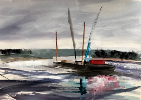 Barge on the Thames near Hammersmith - Jill Spearman