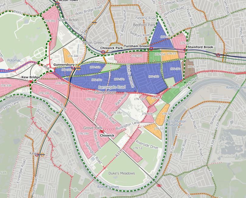 Map showing Low Traffic Neighbourhoods
