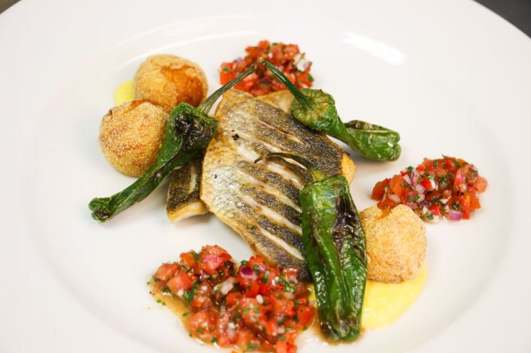 Sea Bass with padron peppers, dauphine potatoes_web