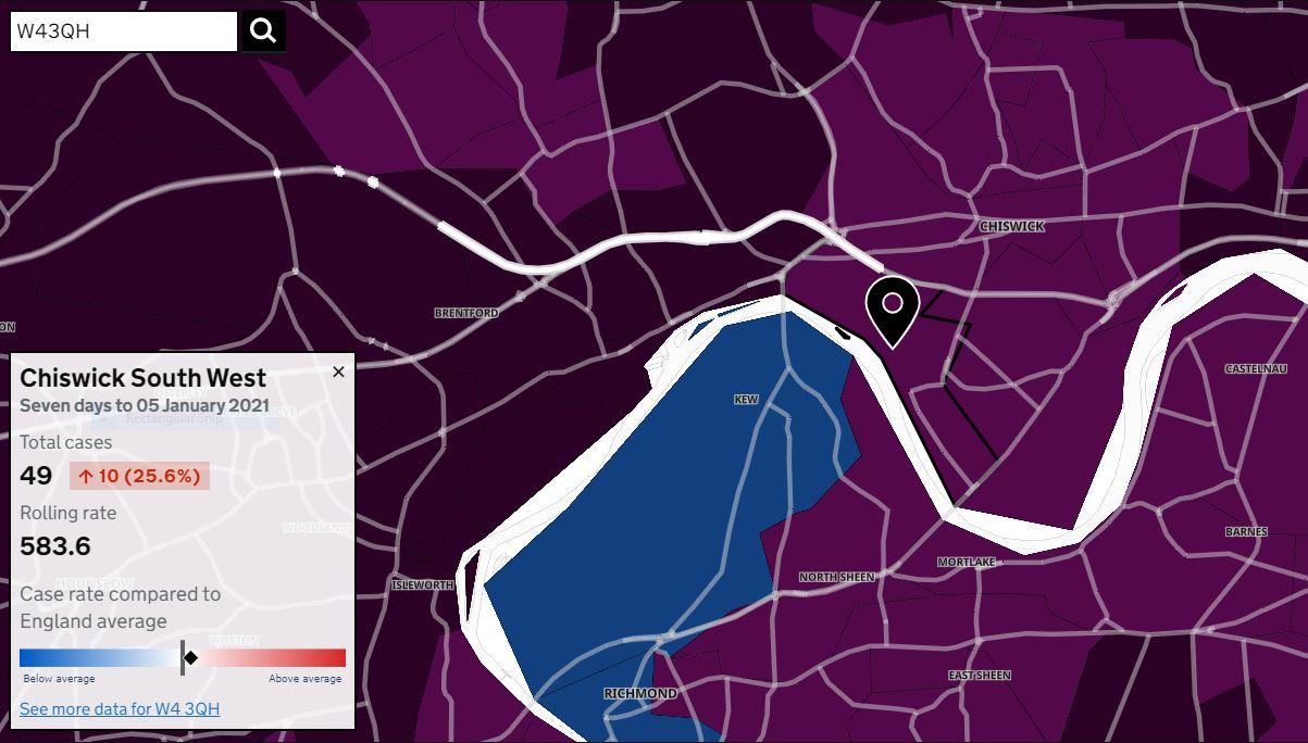 Covid map 5 January