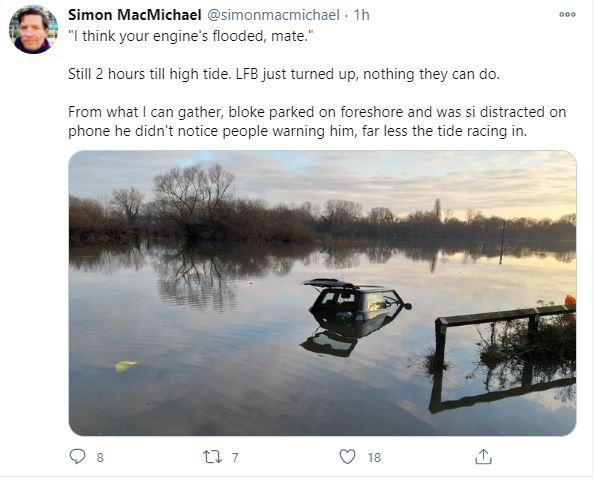 Flooded car tweet 1