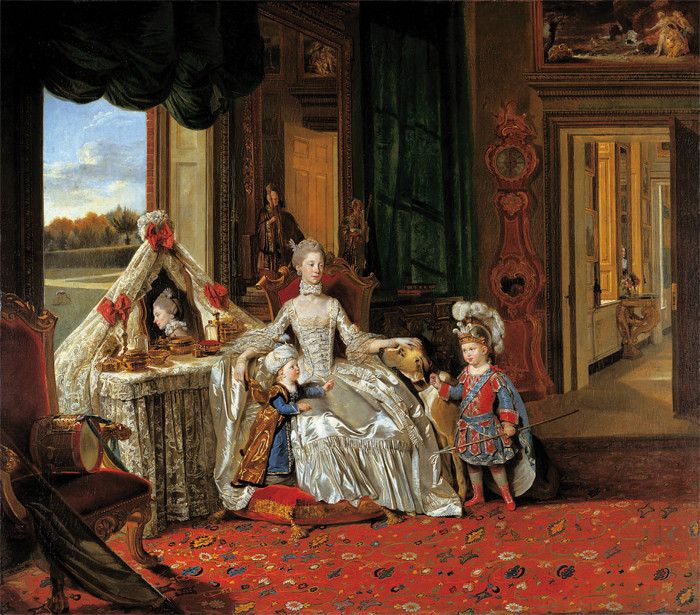 Johann Zoffany - Queen Charlotte with her two eldest sons 1764-65